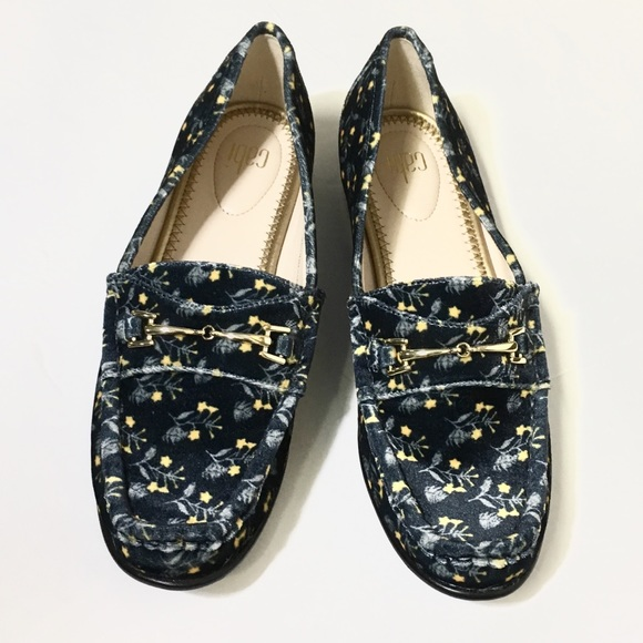 CAbi Shoes - CAbi Carnaby Blue With Flowers Velvet Loafers